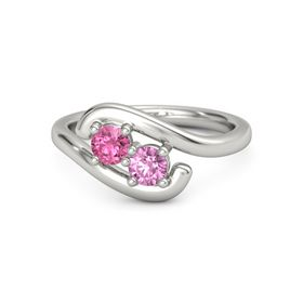 14K White Gold Ring with Pink Tourmaline and Pink Sapphire