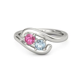 14K White Gold Ring with Pink Tourmaline and Aquamarine