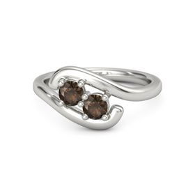 14K White Gold Ring with Smoky Quartz