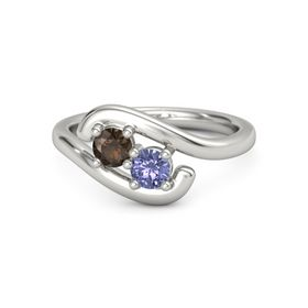 14K White Gold Ring with Smoky Quartz and Tanzanite