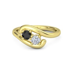 14K Yellow Gold Ring with Black Diamond and Moissanite