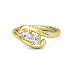 14K Yellow Gold Ring with Rock Crystal and White Sapphire