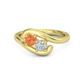 14K Yellow Gold Ring with Fire Opal and Diamond