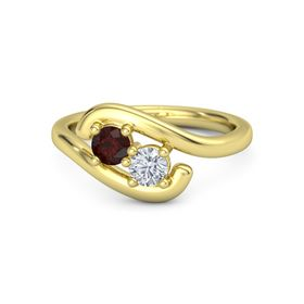 14K Yellow Gold Ring with Red Garnet and Moissanite