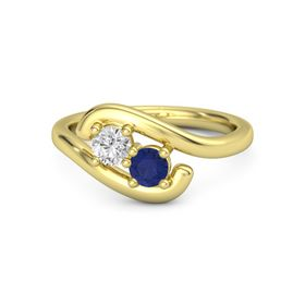 14K Yellow Gold Ring with White Sapphire & Sapphire