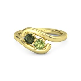 14K Yellow Gold Ring with Green Tourmaline and Peridot