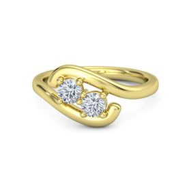 14K Yellow Gold Ring with Moissanite and Diamond