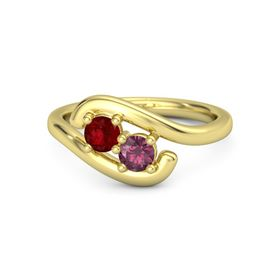 14K Yellow Gold Ring with Ruby and Rhodolite Garnet