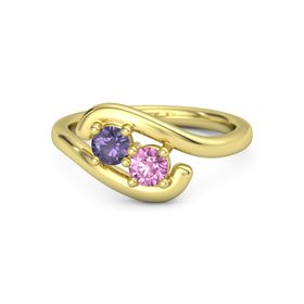 14K Yellow Gold Ring with Iolite and Pink Sapphire