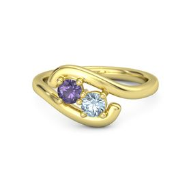 14K Yellow Gold Ring with Iolite & Aquamarine