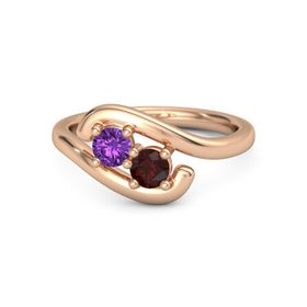 18K Rose Gold Ring with Amethyst and Red Garnet