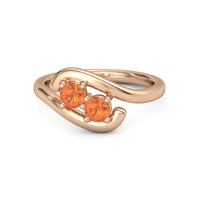 18K Rose Gold Ring with Fire Opal