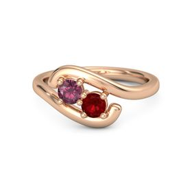 18K Rose Gold Ring with Rhodolite Garnet & Ruby