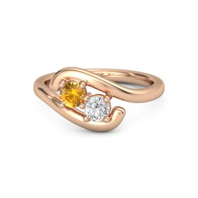 18K Rose Gold Ring with Citrine and White Sapphire