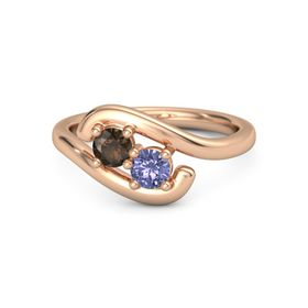 18K Rose Gold Ring with Smoky Quartz & Tanzanite