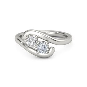 18K White Gold Ring with White Sapphire and Diamond