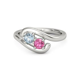 18K White Gold Ring with Aquamarine & Pink Tourmaline