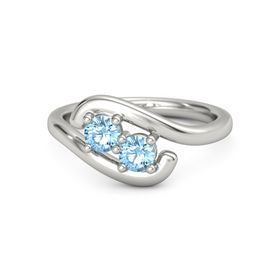 18K White Gold Ring with Blue Topaz