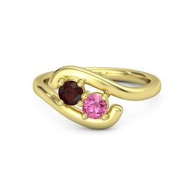 18K Yellow Gold Ring with Red Garnet and Pink Tourmaline