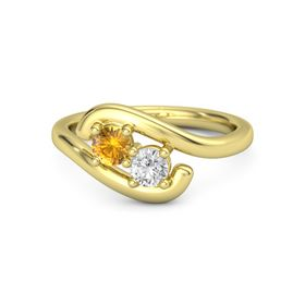 18K Yellow Gold Ring with Citrine & White Sapphire