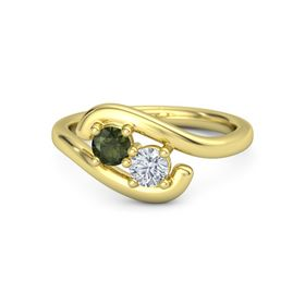 18K Yellow Gold Ring with Green Tourmaline and Diamond