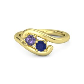 18K Yellow Gold Ring with Iolite and Blue Sapphire