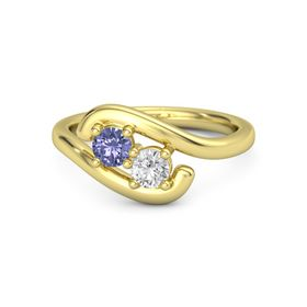 18K Yellow Gold Ring with Tanzanite and White Sapphire