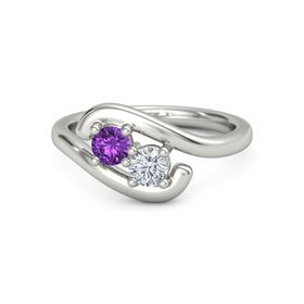 Palladium Ring with Amethyst & Diamond
