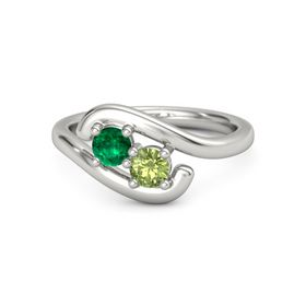 Palladium Ring with Emerald & Peridot