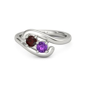 Palladium Ring with Red Garnet and Amethyst