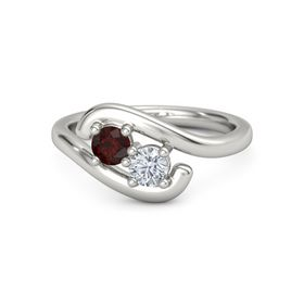 Palladium Ring with Red Garnet & Diamond
