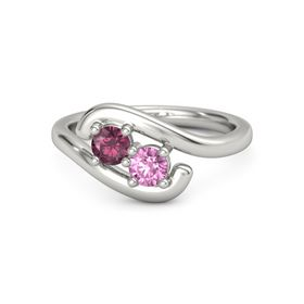 Palladium Ring with Rhodolite Garnet and Pink Sapphire
