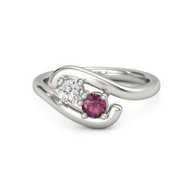 Palladium Ring with White Sapphire & Rhodolite Garnet