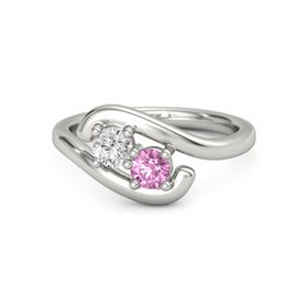 Palladium Ring with White Sapphire and Pink Sapphire
