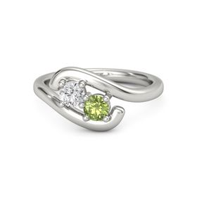 Palladium Ring with White Sapphire and Peridot