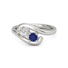 Palladium Ring with White Sapphire and Blue Sapphire