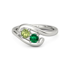 Palladium Ring with Peridot & Emerald