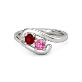 Palladium Ring with Ruby and Pink Tourmaline