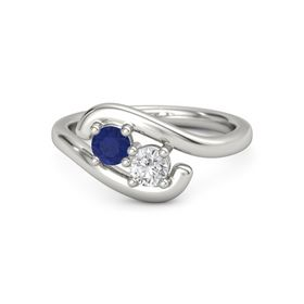 Palladium Ring with Blue Sapphire and White Sapphire