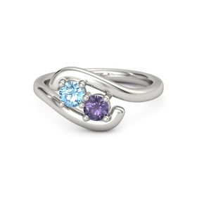 Palladium Ring with Blue Topaz and Iolite