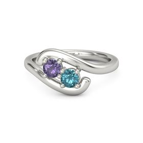 Palladium Ring with Iolite and London Blue Topaz