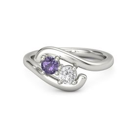Palladium Ring with Iolite and White Sapphire