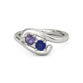 Palladium Ring with Iolite and Blue Sapphire
