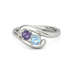 Palladium Ring with Iolite & Blue Topaz