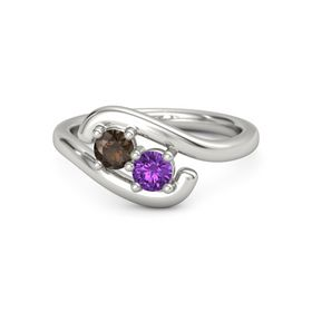 Palladium Ring with Smoky Quartz and Amethyst