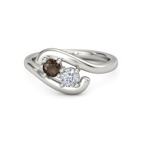 Palladium Ring with Smoky Quartz & Diamond