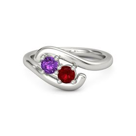 Platinum Ring with Amethyst & Ruby