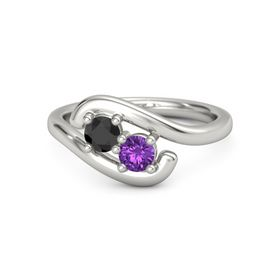 Platinum Ring with Black Diamond and Amethyst