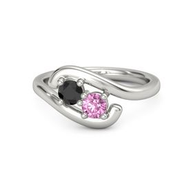 Platinum Ring with Black Diamond and Pink Sapphire