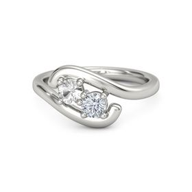 Platinum Ring with Rock Crystal and Moissanite